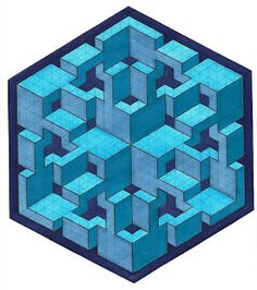Joe's Curly Cubed by Bucwah Dedicated to Joachim Krause [Joe Curly] # impossible # isometric # geometric Graph Paper Art, Isometric Drawing, Isometric Design, Art Optical, Optical Illusions, Geometric Quilt, Geometric Shapes, Geometry Art, Pointillism