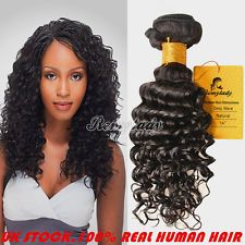 UK!6A 14inch 100% Virgin Remy Brazilian Deep Wave Hair Extensions Weft Curly100g