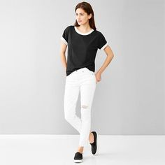 #GiftBuzz - Double-Knit #Tee | #Gap Superfine pima jersey tee with short sleeves that can be rolled up to expose contrast interior layer