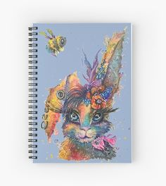 Note book Steampunk Bunny won't bee stung! She's fearless and cute AF. Urban Street style, swirly watercolor Artsy Rabbit with punk piercings, tattoos, flowers and a bow. Woke chilled out attitude. Designed by popular contemporary Artist Sophie Appleton. Bee Sting, Urban Street Style, Contemporary Artists, Tattos, Drawing Ideas, Attitude, Piercings, Steampunk, Rabbit