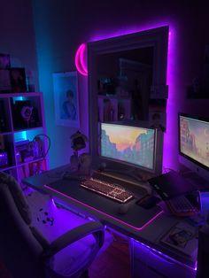 Cute Bedroom Decor, Bedroom Setup, Room Ideas Bedroom, Otaku Room, Gaming Room Setup, Pc Setup, Neon Room, Video Game Rooms, Kawaii Room