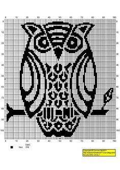 "Photo from album ""Рукоделие"" on Yandex. Cross Stitch Owl, Cross Stitch Animals, Cross Stitch Charts, Cross Stitch Designs, Cross Stitching, Cross Stitch Embroidery, Embroidery Patterns, Cross Stitch Patterns, Stitch Crochet"