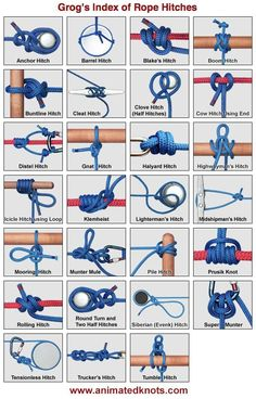 This page shows a selection of the knots commonly used to make rope hitches. This category includes: Slide and Grip Hitches; and, Plain Rope Hitches. Some Fishing Knots function Paracord Knots, Rope Knots, Macrame Knots, Tying Knots, Survival Knots, Survival Tips, Survival Skills, The Knot, Animated Knots