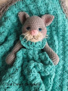 Crochet Pattern Cat Huggy Blanket by Teri Crews by WoolandWhims, $4.95...such a cute toy for a baby girl