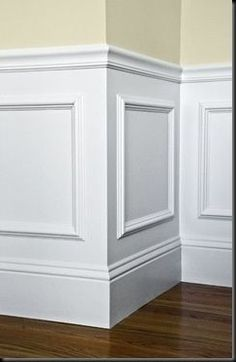 Wainscoting idea: Buy frames and glue to wall, then paint...