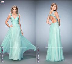 La Femme Prom - 22804 long prom dress - mint prom dress - homecoming dress - formal dress - bridesmaids dress - open back - sweetheart neckline - lace - floral straps - floral back