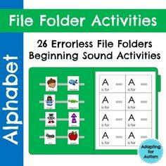 26 alphabet file folder activities to practice letter identification and beginning sounds. This resource is an errorless matching task to build confidence in your early learners and non-readers. Use these for independent work tasks, group lessons, and 1:1 instruction. While these were created for a special education class, the multiple levels and repetition make them ideal for pre-k, kindergarten and ELLs.