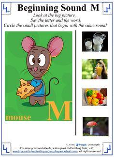 m letter preschool worksheet