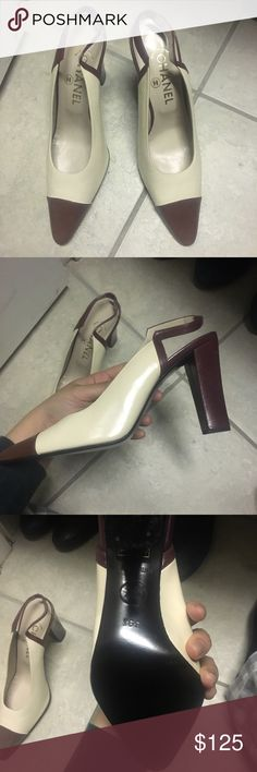 """""""Chanel"""" heels Never worn. Size 39.5. Fits like an 8. Slightly too narrow for me unfortunately. Priced low as I don't think they are authentic. Burgundy and cream. Flaws pictured. CHANEL Shoes Heels"""