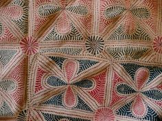kantha, cotton thread embroidery on cotton plain weave (detail), West Bengal ca. mid-19th century.