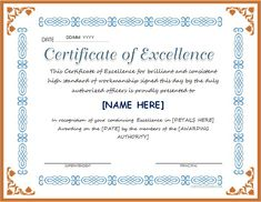 certificate of excellence for ms word download at httpcertificatesinncom