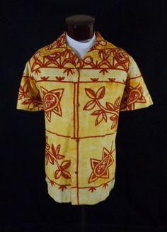 c4244f55 Vintage Lauhala Bark Cloth Yellow Red Tribal Snail Print Hawaiian Shirt–49-VLV  #