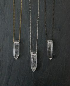 Quartz crystal pendant on a custom length chain and your choice of: gunmetal, gold filled or sterling silver chain. Quartz is the most abundant mineral in the world and is known as the master healing crystal amplifying stability and healing.