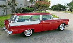 1957 Ford 2dr wagon red & white