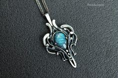 Labradorite Silver pendant   Wire wrapped silver by DorasAccessory