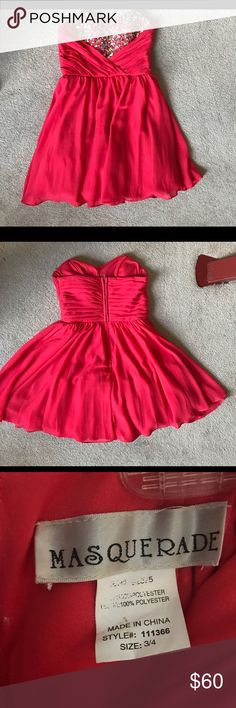Masquerade coral/pink dress Worn twice; fits more like a 2; formal/homecoming dress Masquerade Dresses Strapless
