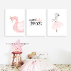 Buy Pink Swan Princess Nordic Poster For Baby Kids Wall Decor Posters And Prints Wall Art Canvas Painting Children's Room Unframed Kids Wall Decor, Baby Room Decor, Wall Art Decor, Princess Canvas, Princess Wall Art, Kids Canvas, Canvas Wall Art, Wall Art Prints, Teen Bedroom Inspiration