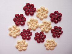 Handmade crochet flowers dark red and cream  by SunisSerendipity, $4.80