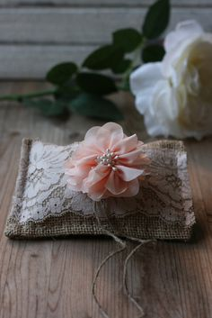 Rustic burlap ring bearer PiLLoW, rustic wedding pillow, small country chic ring pillow, ceremony pillow barn wedding