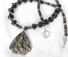 Womens Necklace Handmade Jewelry Easy On Off Toggle Clasp Jasper Hematite Black Grey Womens Sterling SilverJewelry by JewelActs on Etsy, $49.00