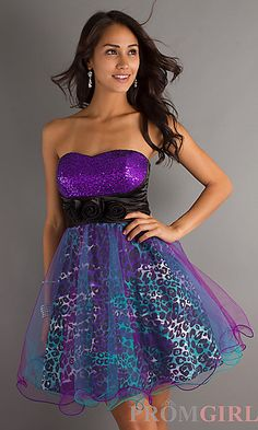 I really really like this....Purple Animal Print Short Dress at PromGirl.com