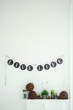 Banner by Cardamama on mantle Event Decor, Mantle, Live Life, Banners, Awards, Photo Wall, Black And White, Frame, Crafts