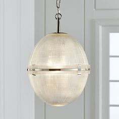 Shop Windsor Glass Globe Polished Nickel Pendant.  Inspired lighting over a kitchen island or dining table, the Windsor pendant light showcases fine craftsmanship.