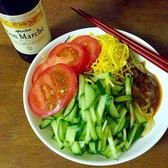 たまたまですが三色の野菜を入れたジャージャー麺です。夏はやはりさっぱりしてて、栄養があるものがいいですねー - 13件のもぐもぐ - 三色ジャージャー麺 by kinokoto