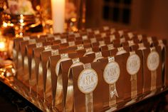 Gold wedding favors (Photo by Nadia D. Photography)