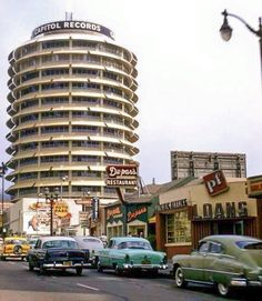 The Capitol Records Building on Vine St, Hollywood, California, 1958 My mother worked here for a short time before we moved to Hawaii in Hollywood California, Southern California, Vintage California, Hotel California, Visit California, San Fernando Valley, Capitol Records, Los Angeles Area, City Of Angels