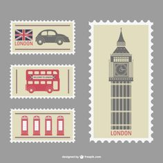 London Stamps Free Vector