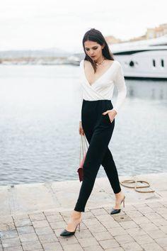 Oh My Love Bi Tone Black Loose Bottom Wrap White Top Jumpsuit