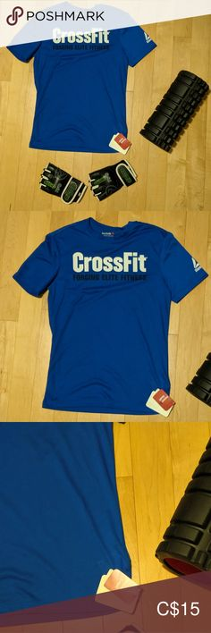 REEBOK - NWT Blue CrossFit T-Shirt New with tag; royal blue Reebok CrossFit speedwick T-shirt. Size men's small with logo on left arm. Elite Fitness, Reebok Crossfit, Plus Fashion, Fashion Tips, Fashion Trends, Royal Blue, Arm, Tee Shirts, Man Shop