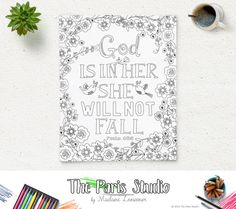Printable #ColoringPage Bible Verse #Psalm 46:5 instant download