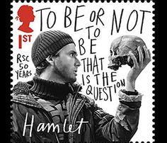 """David Tennant's """"Hamlet"""" stamp by Royal Mail celebrating the Royal Shakespeare Company's 50th anniversary"""