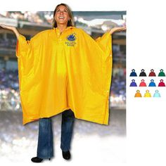 """The Poncho Pac is 100% waterproof and eco-friendly! This EVA fabric rain poncho comes packed in a black mesh-trimmed sport case that matches the poncho color. This product features a roomy, oversized hood, a snap closure at the neck and a drawcord for easy carry. With 52"""" x 86"""" coverage, one size fits most adults. The soft, lightweight fabric drapes comfortably on your body and has a snap closure for the neck. Includes your imprinted logo on the poncho and sport pac. Rain Poncho, Hooded Poncho, Waterproof Poncho, Trade Show Giveaways, Company Picnic, Ny Usa, Draped Fabric, Rain Wear, Black Mesh"""