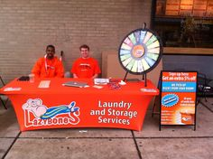 Brandon and Ryan are ready to take your order. Come visit us at 700 Comm Ave in front of Warren Towers. Spin the Wheel o'free stuff and take your 4 free boxes. Buy this Prize Wheel at http://PrizeWheel.com/products/tabletop-prize-wheels/tabletop-black-clicker-prize-wheel-18-slot/.