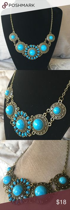 """Boho Turquoise Bib Necklace Boho Turquoise Bib Necklace approximately 16"""" chain (please see photo).  Perfect for Coachella or a music festival, or just to dress up your favorite outfit.  Necklace is lightweight and great for summer! Jewelry Necklaces"""
