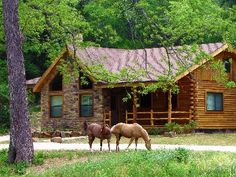 """Vacation house with """"Billy & Boots"""" (ranch quarter horses) - Brazos Bluffs Ranch to Horseback Ride, Canoe+++! Log Cabin Homes, Log Cabins, Mountain Homes, Cabins And Cottages, Cabins In The Woods, Cabin Rentals, Interior Exterior, The Ranch, My Dream Home"""
