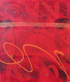 "Günter Fruhtrunk - ""Orange Signature"" 12""x10"" Acrylic on Canvas 2006"