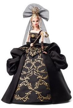 Barbie© doll wears an extravagant black ball gown embellished with intricate golden embroidery and sparkling rhinestones. Includes black veil, golden tiara, gloves and opulent mask.