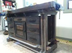 Xib's Roubo Style Workbench With Cabinet Sans Sliding Deadman yet Woodworking Bench Plans, Woodworking Shop, Work Benches, Hunting Rifles, Garage Workshop, Garage Storage, Kitchen Cart, Shop Ideas, Wood Working