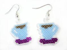 Cup of Coffee Beaded Earrings on Hooks or by MegansBeadedDesigns