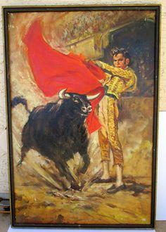 Vintage Matador Bullfighter Oil Painting Bull by retrosideshow