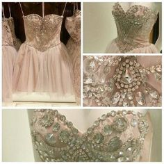 Short Pale Pink Bead A-line Sweetheart Knee-length Tulle Lace Prom Dress Graduation Dress Formal Dress 2014 on Etsy, £66.90 #topshoppromqueen