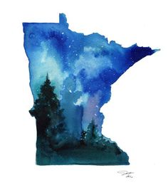 size: Stretched Canvas Print: Minnesota State Watercolor by Jessica Durrant : Using advanced technology, we print the image directly onto canvas, stretch it onto support bars, and finish it with hand-painted edges and a protective coating. Minnesota Tattoo, Map Canvas, Painting Edges, Ink Painting, Poster Prints, Art Prints, Watercolor Illustration, Tattoo Watercolor, Watercolor Ideas