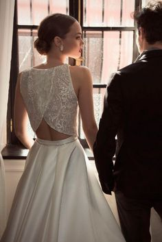Ppen back two piece bridal gown #wedding #dress #fashion