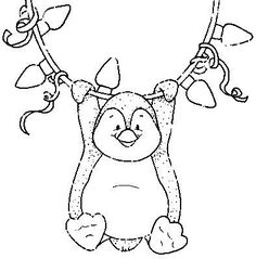 Penguins are my all time favorite thing in the world. Penguin Coloring Pages, Christmas Coloring Pages, Coloring Book Pages, Coloring Sheets, Christmas Images, Christmas Colors, Christmas Art, Clipart Noel, Illustration Noel
