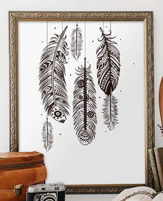 Bohemian Wall Art Feather Wall Art Bohemian By TwoBrushesDesigns #feathers  | 1Ellieu0027s Room | Pinterest | Bohemian Wall Art, Feather Wall Art And  Bohemian Part 29