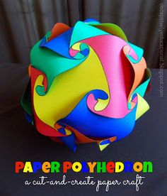 educational and cool for Kids: Relentlessly Fun, Deceptively Educational: Paper Polyhedron (free template included). Art For Kids, Crafts For Kids, Arts And Crafts, Kids Work, Math Crafts, Middle School Art, Art School, High School, Cool Paper Crafts